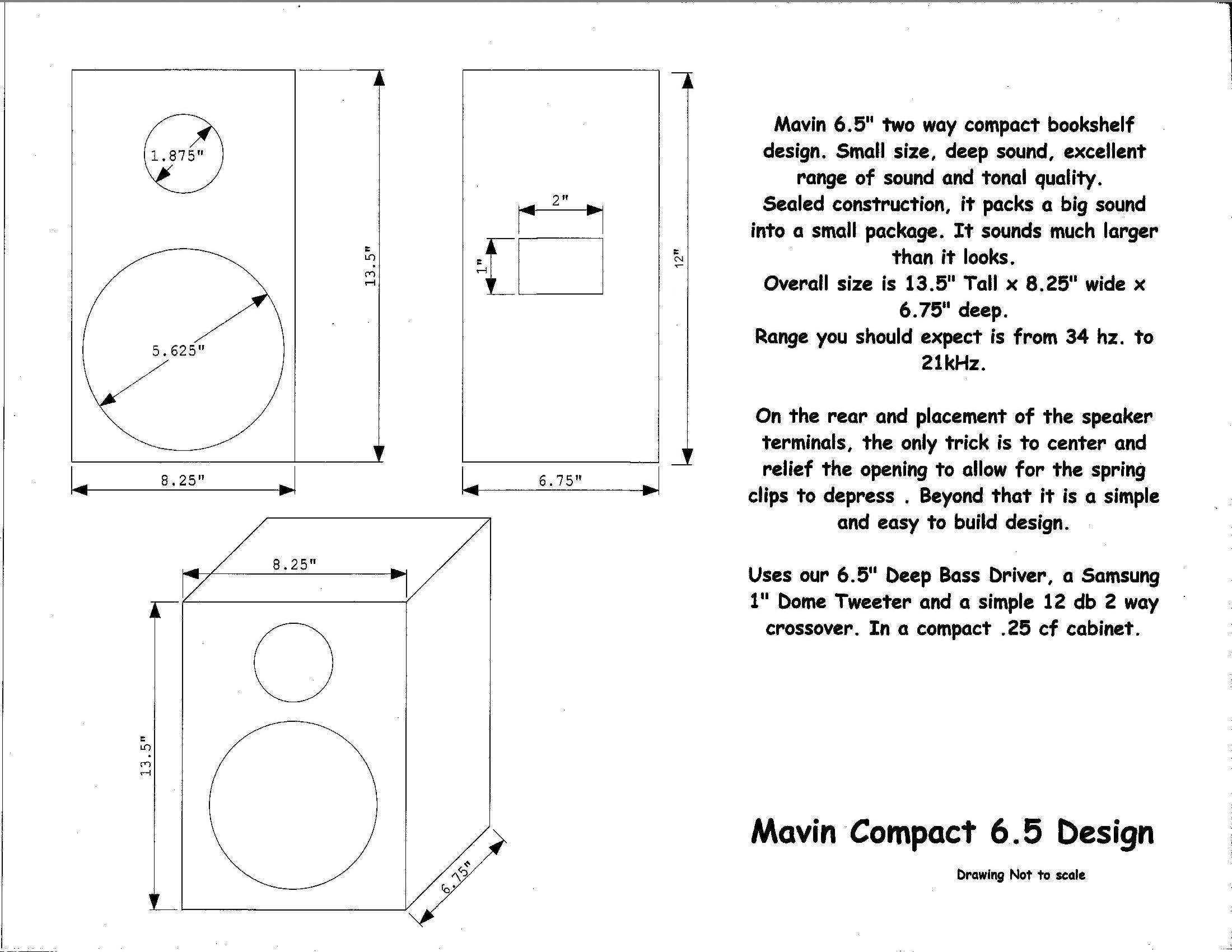 Compact Bookshelf Kit 6 5 Woofer Dome Tweeter 8 Ohms 125 Watts