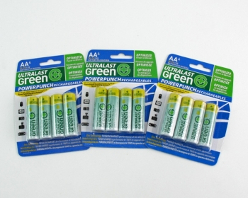 12 Pack Ultralast Green Ni-Zn Rechargeable AA Batteries