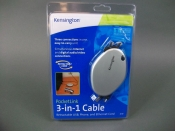 Case of 4 Kensington 3 in 1 Cable Retractable USB, Phone, & Ethernet Cord - New!