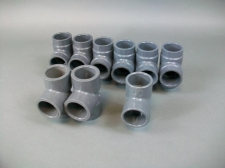 "Lot of 9 Miscellaneous 1 1/4"" SCH-80 Tee Fitting PVC Socket"