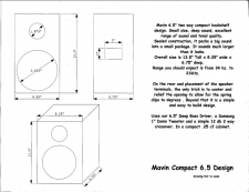 "Compact Bookshelf Speaker Kit 6.5"" Woofer Dome Tweeter 8 ohms 125 watts Amazing Bass"