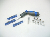 GRIP ON TOOLS 62182 Ratcheting Driver Bit And Socket Set 41 Pieces - NEW