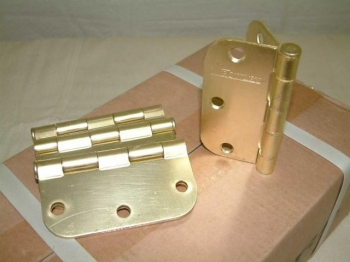 50 Pair of Brushed Brass Finish Hinges