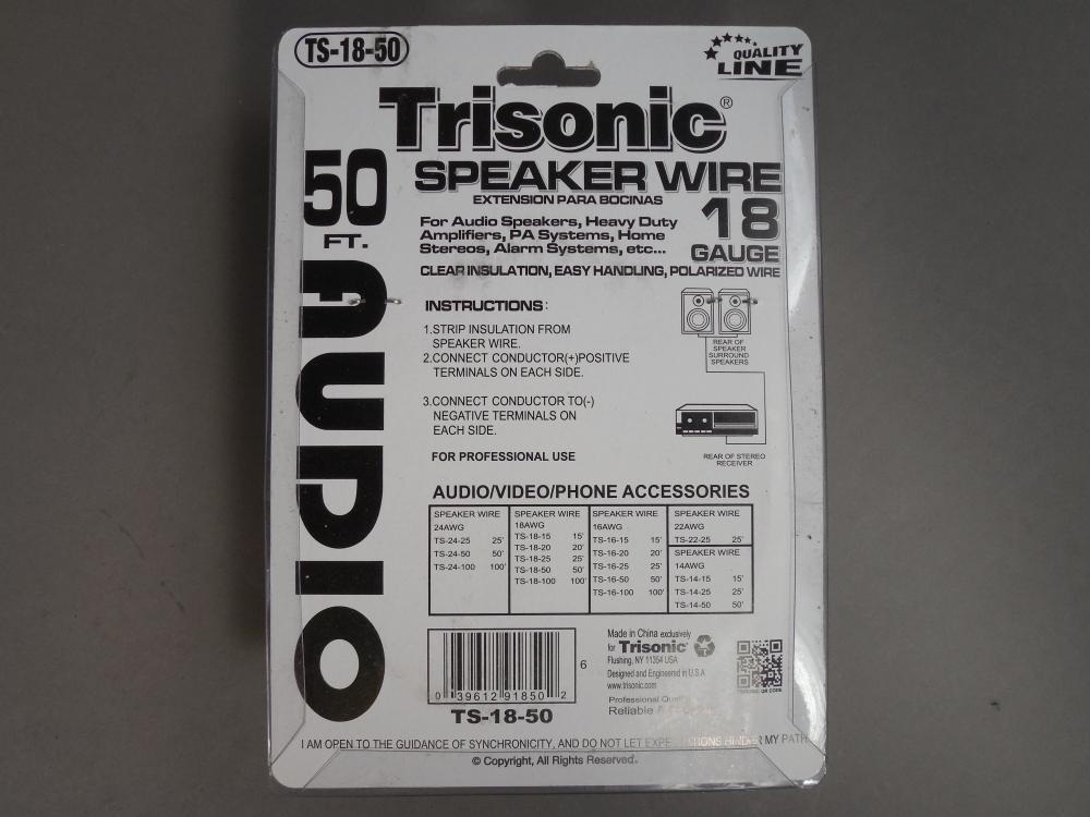 50ft Trisonic Ts 18 50 Speaker Wire 18 Gauge Polarized Wire Clear