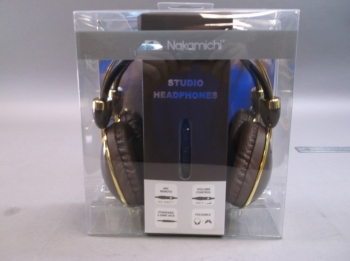 Nakamichi Folding Headphone Brown and Gold Compact Over Ear